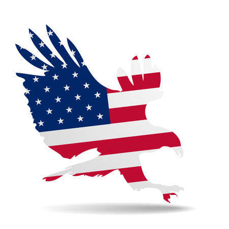 detailed illustration of a hunting eagle silhouette colored with the american flag Vector