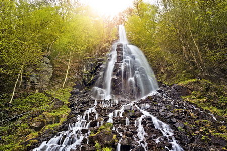 Trusetal waterfall in the evening sun, Thuringia, Germany photo