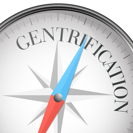 gentrification: detailed illustration of a compass with gentrification text