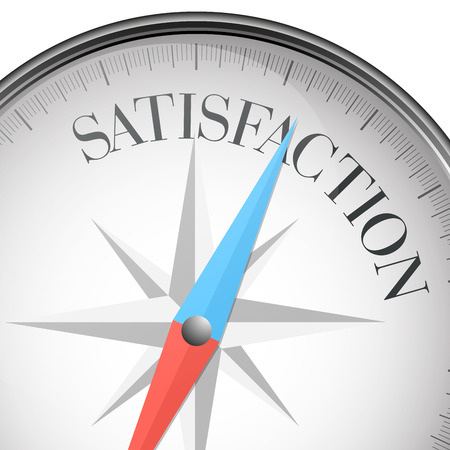 contentment: detailed illustration of a compass with Satisfaction text Illustration
