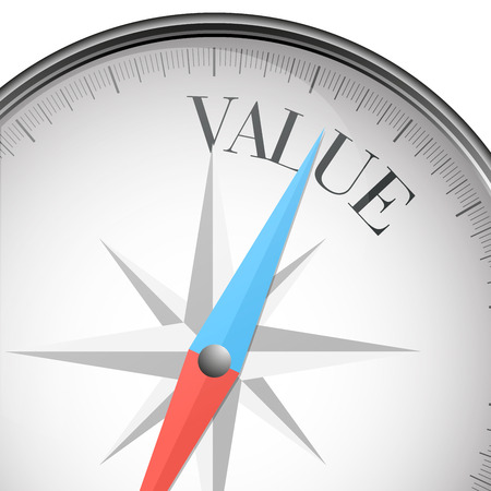 valuation: detailed illustration of a compass with value text