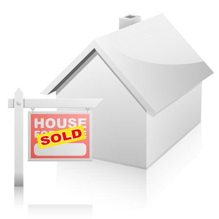 for sale sign: detailed illustration of a real estate House For Sale sign with yellow sticker in front of a house Illustration