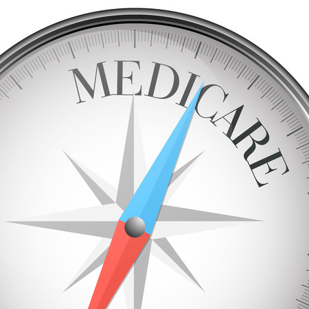 medicare: detailed illustration of a compass with medicare text Illustration