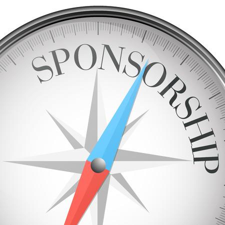 gedetailleerde illustratie van een kompas met sponsoring tekst