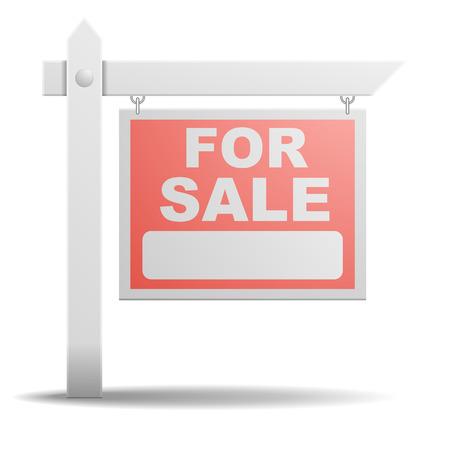 gedetailleerde illustratie van een voor verkoop onroerend goed teken Stock Illustratie