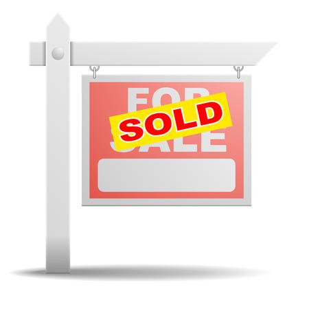 gedetailleerde illustratie van een voor verkoop onroerend goed teken met een gele Verkocht sticker op het Stock Illustratie