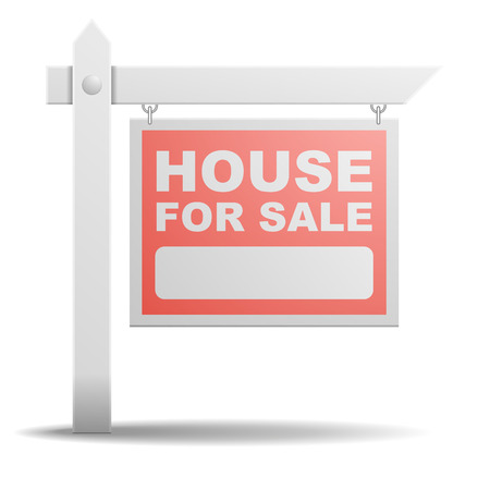 homes for sale: detailed illustration of a House For Sale real estate sign