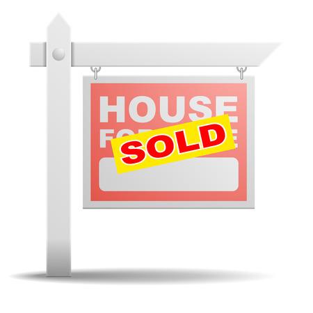 gedetailleerde illustratie van een huis te koop vastgoed bord met een gele Verkocht sticker op het Stock Illustratie