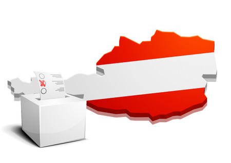 ballot box: detailed illustration of a ballot box in front of the map of austria, eps10 vector Illustration