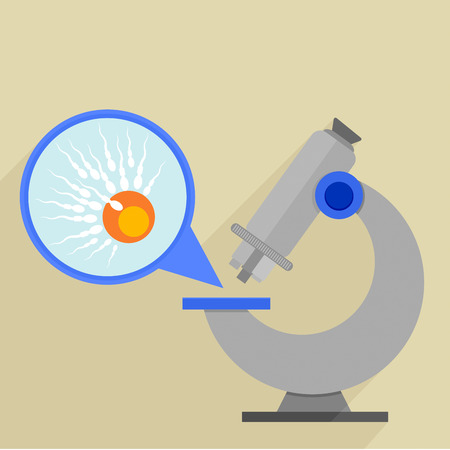 fertilisation: retro flat style illustration of a microscope with detailed view on an egg fertilisation, eps10 vector