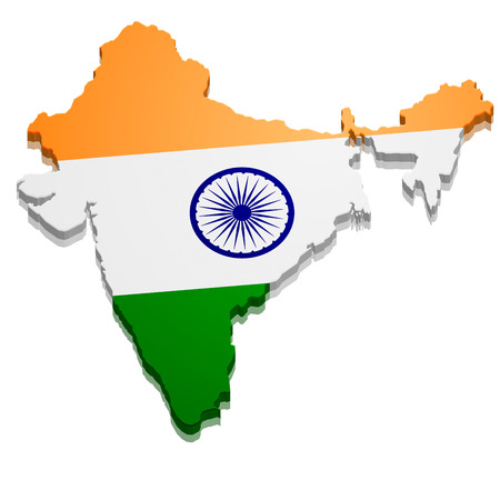 india 3d: detailed illustration of a map of India with flag, eps10 vector Illustration