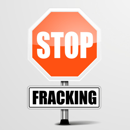fracking: detailed illustration of a red stop Fracking sign, eps10 vector