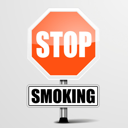 stop smoking: detailed illustration of a red stop Smoking sign, eps10 vector
