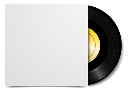 detailed illustration of a black vinyl record with blank cover case, eps10 vector