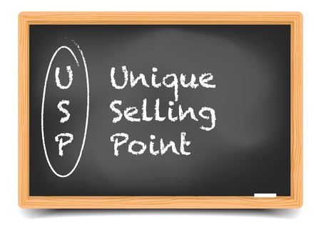 selling points: detailed illustration of a blackboard with USP term explanation, eps10 vector, gradient mesh included Illustration