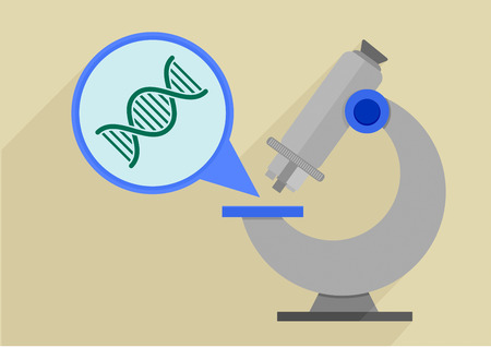 microscopy: retro flat style illustration of a microscope with detailed view on a dna string, eps10 vector