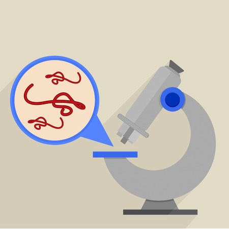 microscopy: retro flat style illustration of a microscope with detailed view on ebola virus, eps10 vector