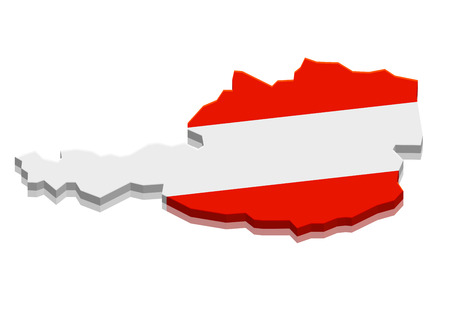 detailed illustration of a map of Austria with flag, eps10 vector Vector