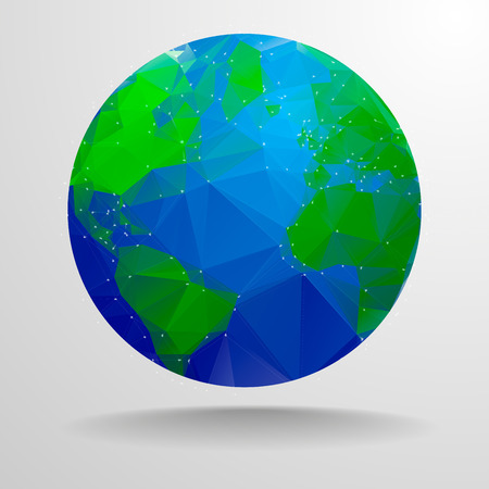 minimalistic illustration of a polygonal globe, eps10 vector Vector