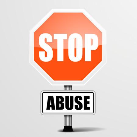 abuso sexual: ilustración detallada de una señal de stop Abuso rojo, vector eps10 Vectores