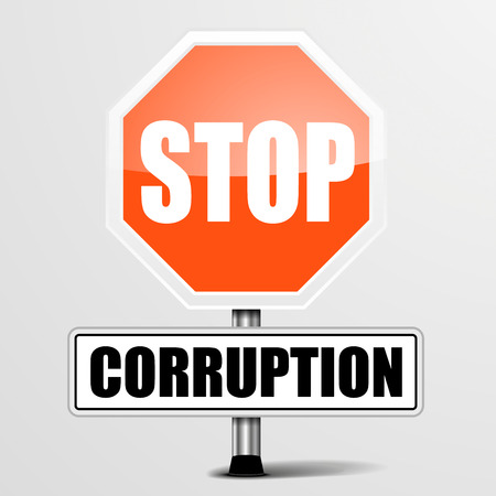corruption: detailed illustration of a red stop corruption sign, eps10 vector