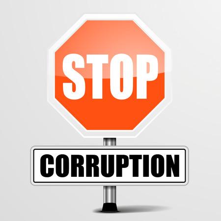 corrupcion: ilustración detallada de una señal de stop corrupción rojo, vector eps10