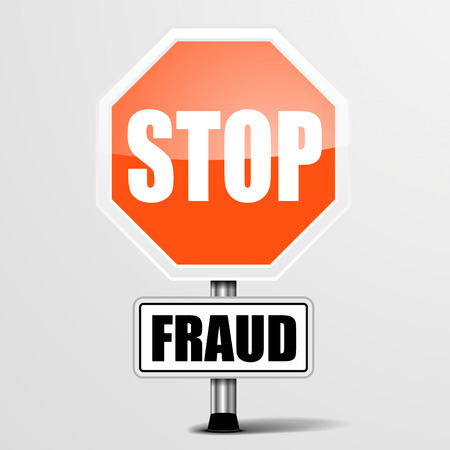 stop piracy: detailed illustration of a red stop Fraud sign, eps10 vector