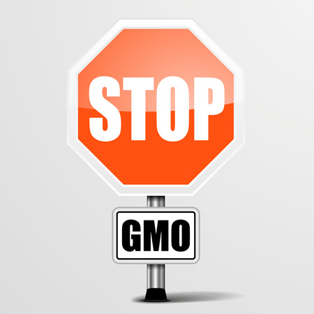 biology instruction: detailed illustration of a red stop GMO sign, eps10 vector