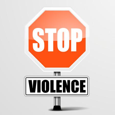 maltrato infantil: ilustraci�n detallada de una se�al de stop Violencia rojo, vector eps10