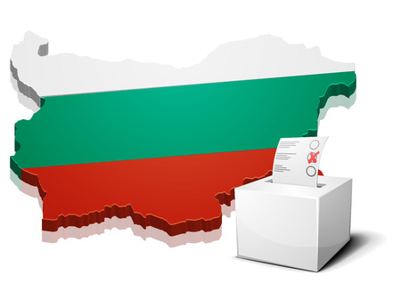 continental: detailed illustration of a ballotbox in front of a map of Bulgaria, eps10 vector