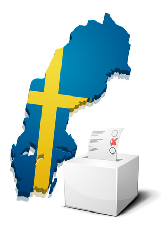 continental: detailed illustration of a ballotbox in front of a map of Sweden,