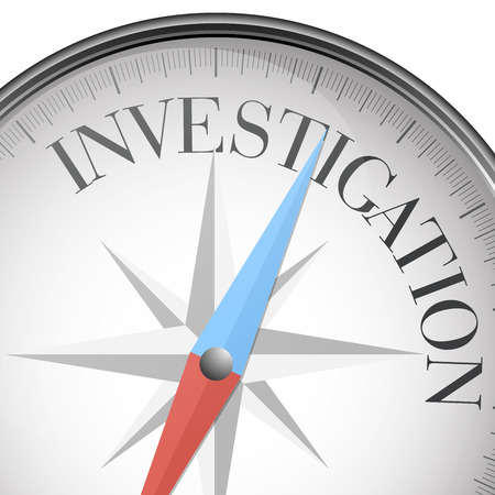 investigations: detailed illustration of a compass with investigation text,  Illustration