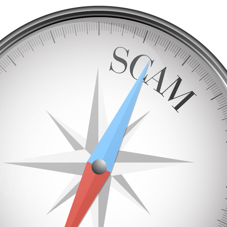 criminal activity: detailed illustration of a compass with scam text,  Illustration