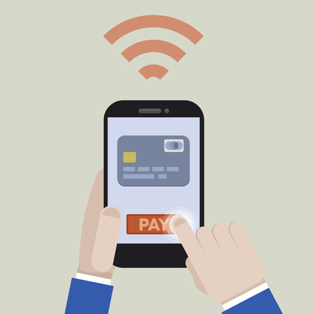 card payment: minimalistic illustration of mobile payment with a smartphone application,