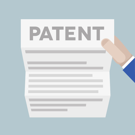 registered mail: detailed illustration of a hand holding a sheet of paper with Patent headline,