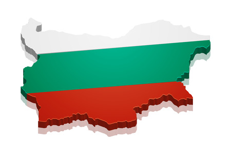bulgaria flag: detailed illustration of a map of Bulgaria with flag, eps10 vector Illustration