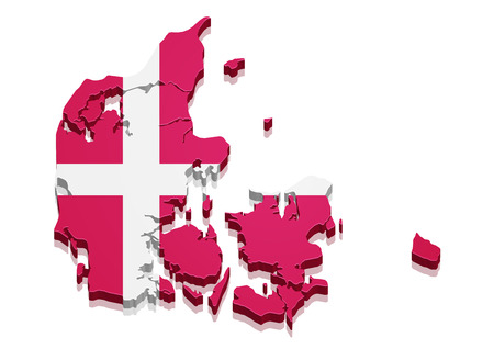denmark: detailed illustration of a 3d Map of Denmark with flag,
