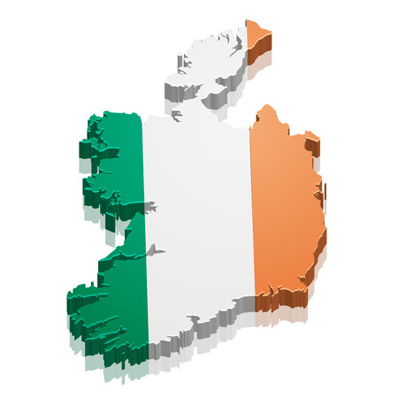 eire: detailed illustration of a map of Ireland with flag,  Illustration