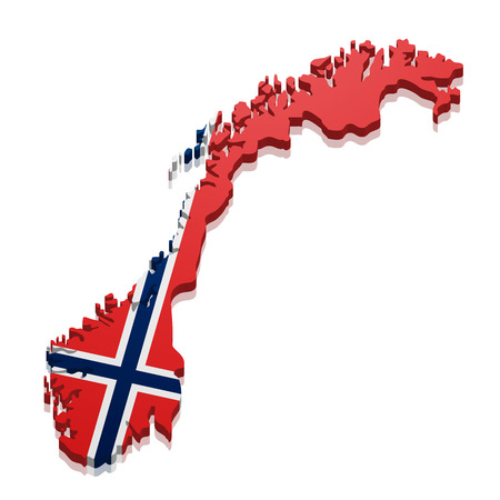 detailed illustration of a map of Norway with flag,