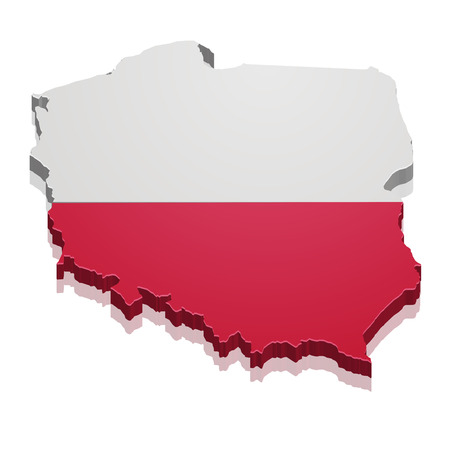 boundaries: detailed illustration of a map of Poland with flag,  Illustration