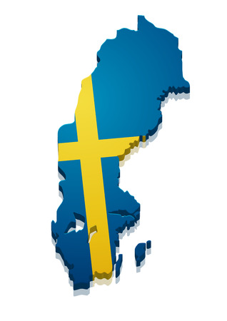 detailed illustration of a map of Sweden with flag,  Vector