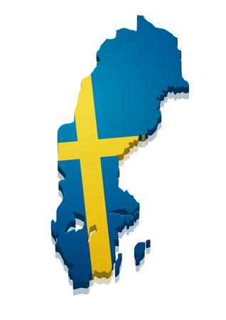 map of sweden: detailed illustration of a map of Sweden with flag,