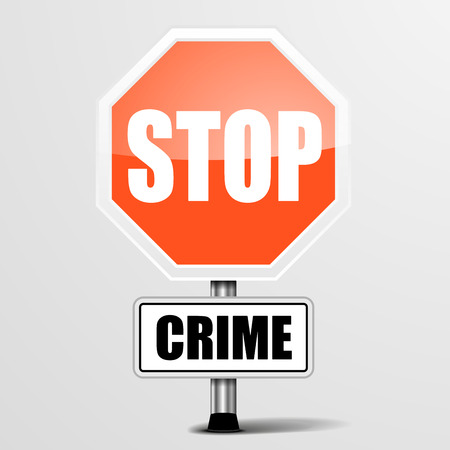 bribes: detailed illustration of a red stop crime sign,