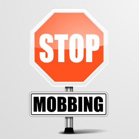 detaillierte Darstellung eines roten Stopp Mobbing Zeichen,