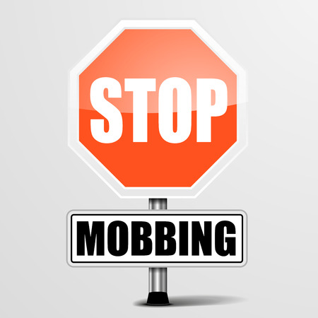 mobbing: detailed illustration of a red stop Mobbing sign,