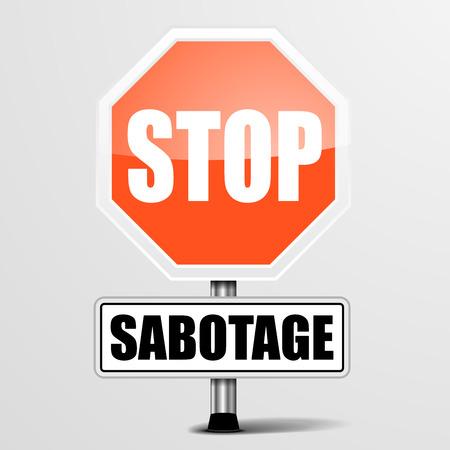 espionaje: ilustraci�n detallada de una se�al de stop Sabotaje rojo, vector eps10
