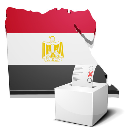 egypt flag: detailed illustration of a ballotbox in front of a map of Egypt