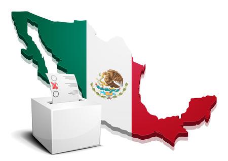 democracia: ilustración detallada de una ballotbox frente a un mapa de México,