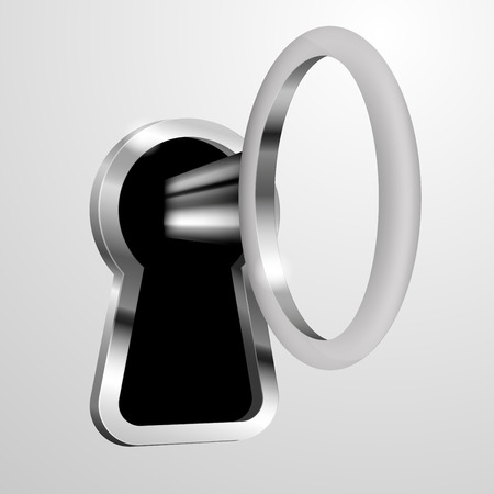 key hole: detailed illustration of key in a keyhole,vector, gradient mesh included