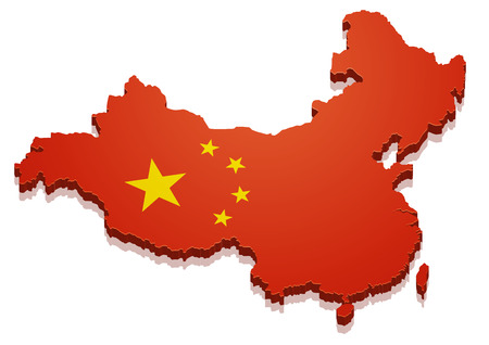 detailed illustration of a map of China with flag,